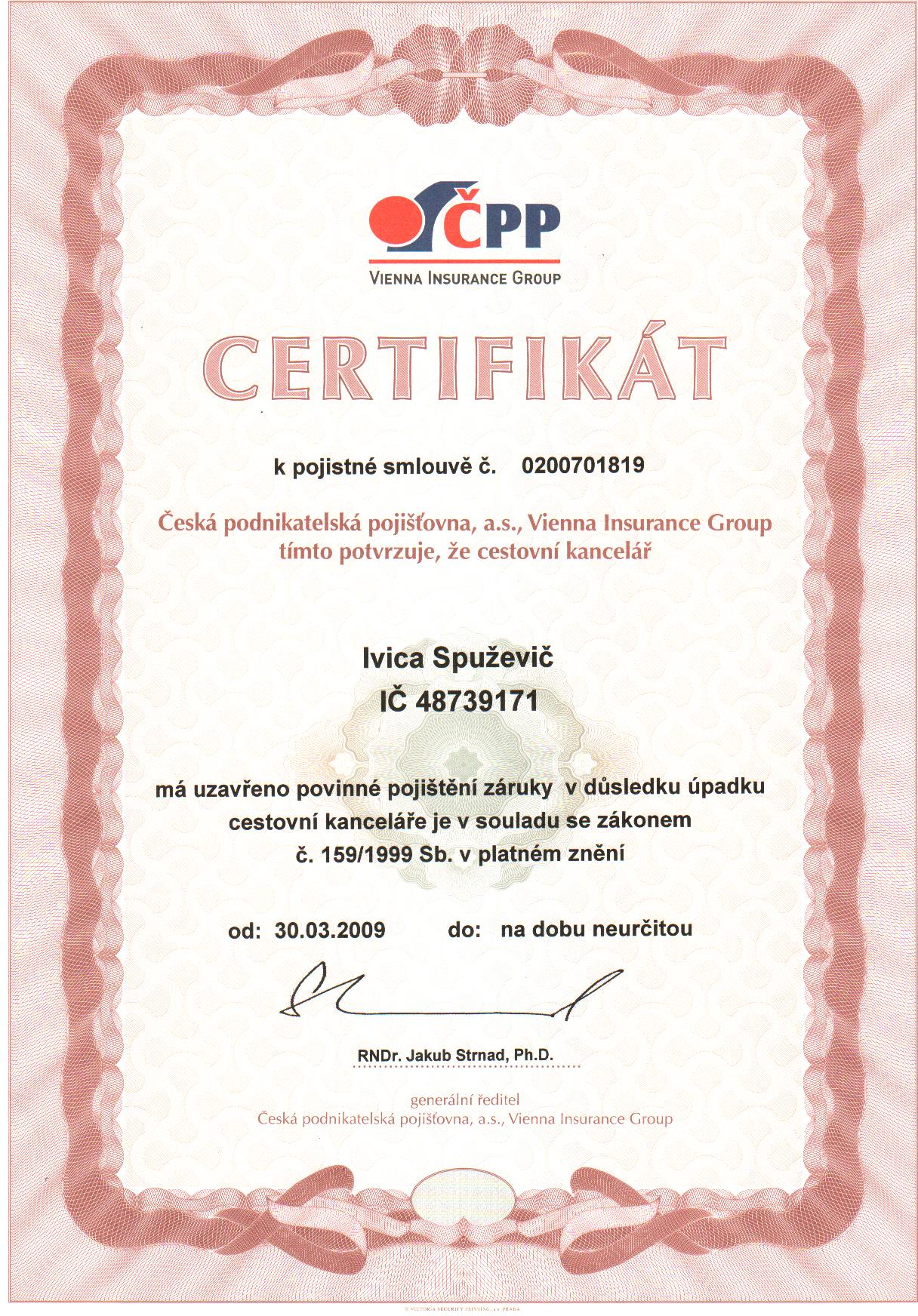 certifikat pojisteni proti upadku